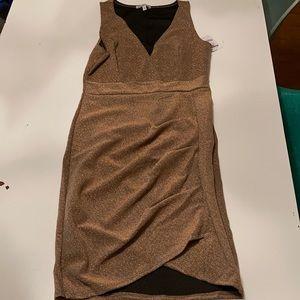 NWT Gold Glitter Stretch Dress Charlotte Russe